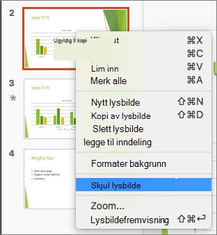 Skjermbildet viser et lysbilde valgt og høyreklikke med merket av for Skjul lysbilde.