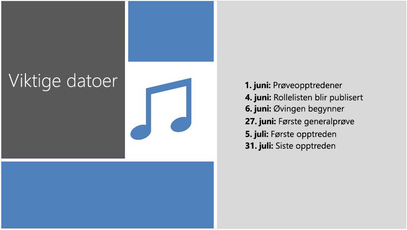 Eksempel lysbilde med en tekst tids linje som PowerPoint designer la til illustrasjon og utforming av.