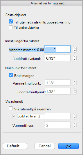 Alternativer for rutenett