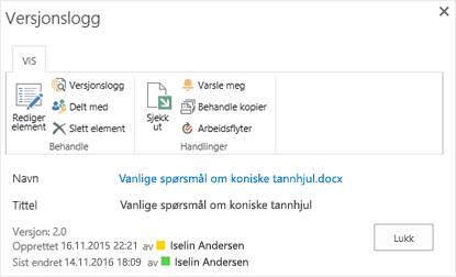 Dialog boksen versjons Logg for SharePoint 2016