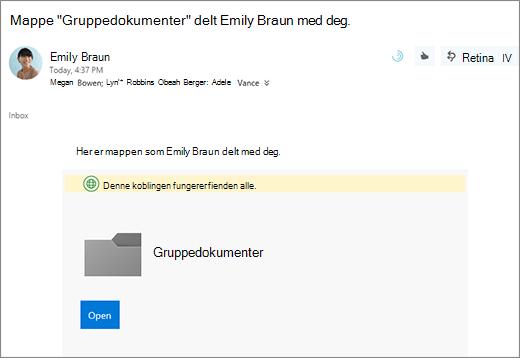 E-post med kobling til å dele OneDrive-mappen