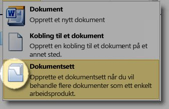 Nytt-dokument-meny med dokumentsettikon uthevet