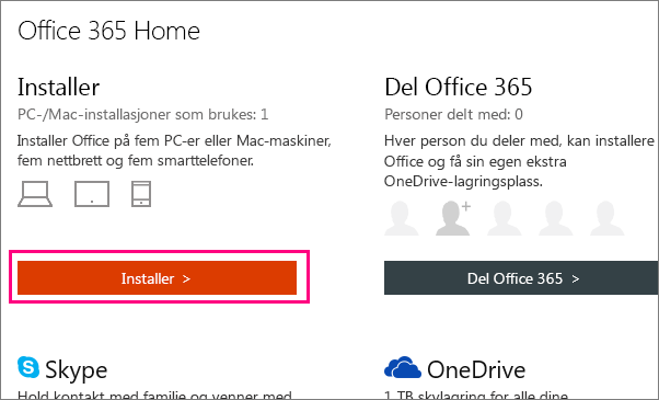 Viser knappen Installer Office 365 Home på kontosiden