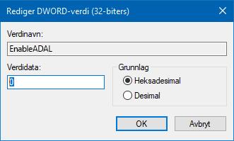 Registerredigeringsverdi 0