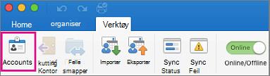 Kontoer-knappen i kategorien verktøy