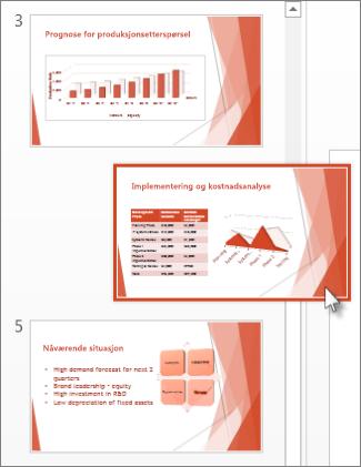 Dra et PowerPoint-lysbilde til en ny plassering.