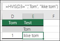 """Sjekk om en celle er tom – formel i celle E2 er =HVIS(ERTOM(D2),""""Tom"""",""""Ikke tom"""")"""