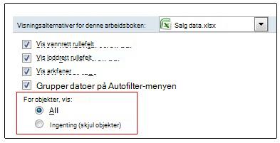Alternativer for å vise og skjule objekter i dialogboksen Alternativer for Excel