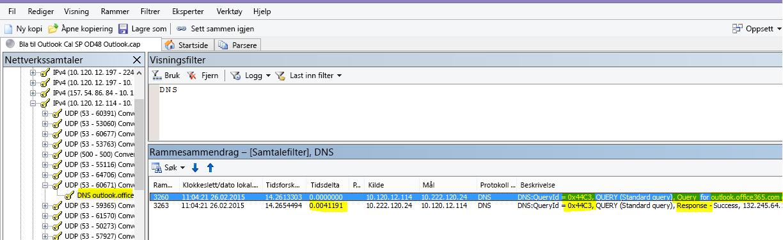 En Netmon-sporing av Outlook Online-innlasting filtrert etter DNS og ved hjelp av Finn samtaler og deretter DNS for å begrense resultatene.