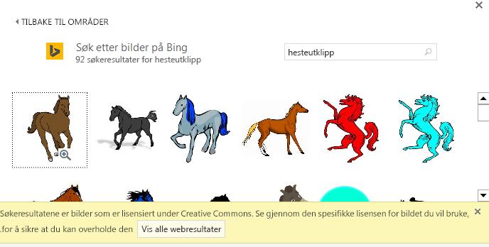Når du søker etter «hest utklipp», ser du en rekke bilder under Creative Commons-lisens.