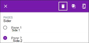 Slette en side i en lang hurtigmeny i OneNote for Android
