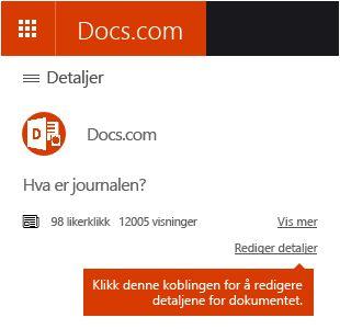 Rediger Detaljer-alternativet i Docs.com