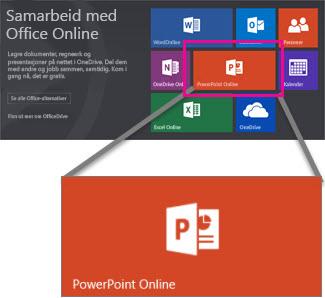 Velg PowerPoint Online