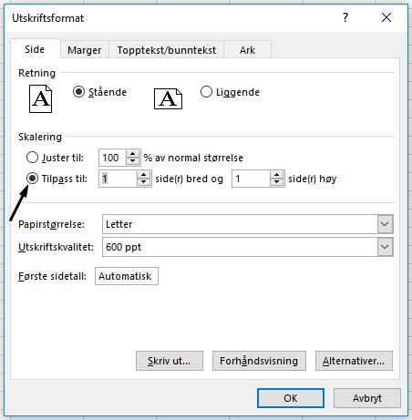 Definer Tilpass til-alternativet i dialogboksen Utskriftsformat.