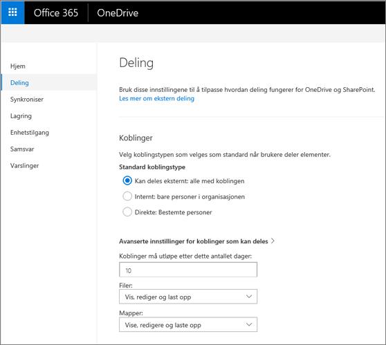 Koblingsinnstillinger på deling-siden i administrasjonssenteret i OneDrive