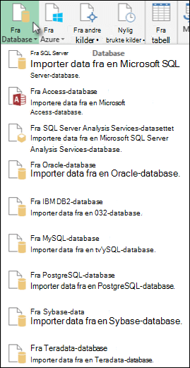 Alternativer for Power Query fra Database
