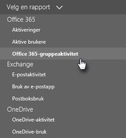 Velg en rapport – Office 365-grupper