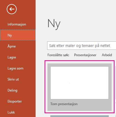 Velg tom presentasjon på skjermbildet ny.
