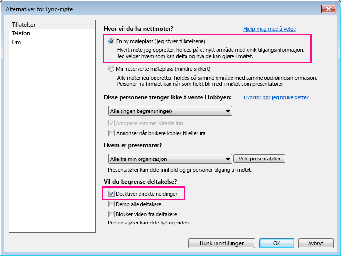 Skjermbilde av alternativer-vinduet hvor du kan deaktivere direktemeldinger i Lync-møte