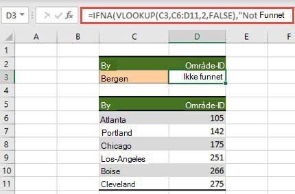 Bilde av bruk av hvis.it med Finn. rad for å hindre at #N/A feil vises.