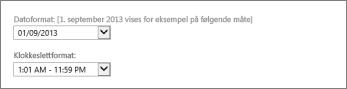 Innstillinger for dato- og klokkeslettformat i Outlook Web App