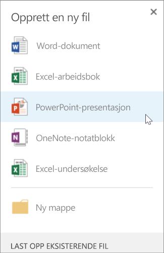 Opprette en ny PowerPoint-presentasjon