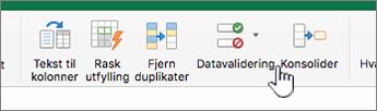 Datameny for Excel-verktøylinje der datavalidering er valgt