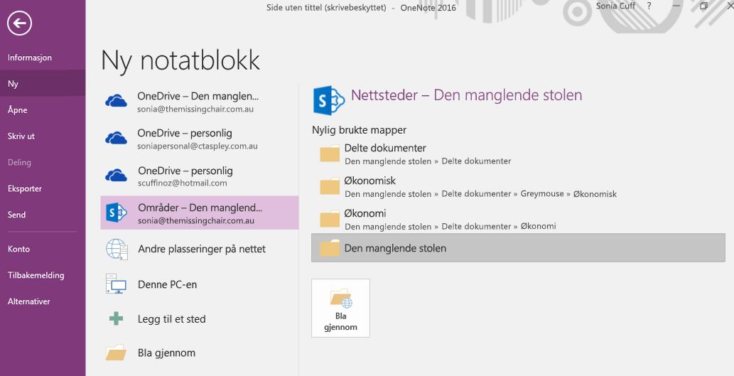 OneNote for Windows 2016 – grensesnitt for valg av ny notatblokkmappe