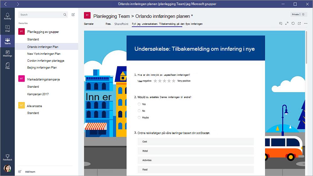 Skjema-fanen i Microsoft Teams som viser et skjema i fyll modus