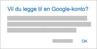 Trykk på OK for å gi Outlook tilgang til kontoene dine.
