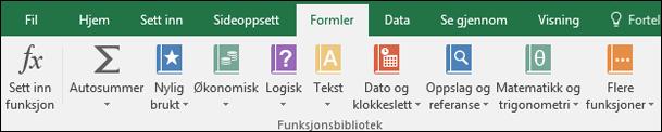 Formler-fanen på båndet i Excel