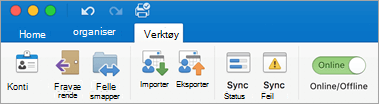 Et skjermbilde av kategorien Verktøy på båndet.