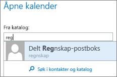 Dialogboksen Åpne kalenderen i Outlook Web App