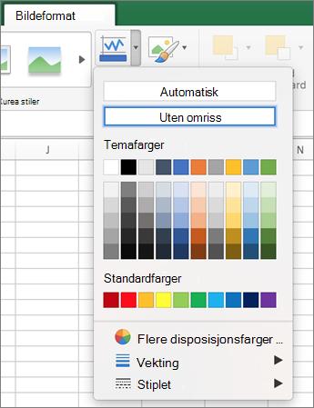 Klikk ikonet for Bildekantlinje