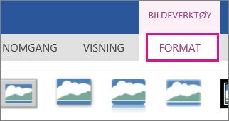 Bilde av Format-alternativene på båndet for Bildeverktøy