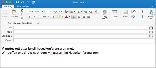 Engelsk setning og tysk setning med feilstavet ord på tysk. Feilstavelsen har rød understreking.