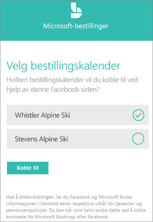 Liste over Bestillingstype kalendere for å legge til Facebook-siden.