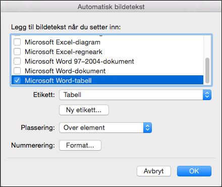 Automatisk legge til tekst for nye tabeller og andre objekter som du har satt inn