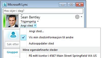 Vis plassering i Lync