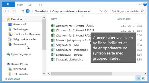 Bruk Filutforsker til å navigere til den synkroniserte filen på skrivebordet. Det er i SharePoint-mappen.