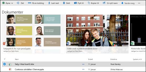 Office 365 – Dokument- og mappemeny