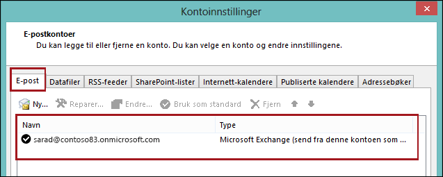 Kontotype i Outlook