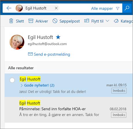 Søk etter en person for å se alle e-postmeldinger