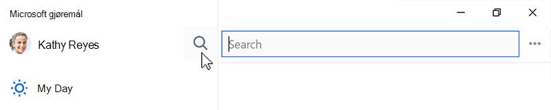 Skjermbilde som viser søkeikonet valgt og søkefeltet åpne