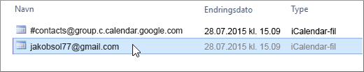 Velg filen som slutter med gmail.com for å importere.