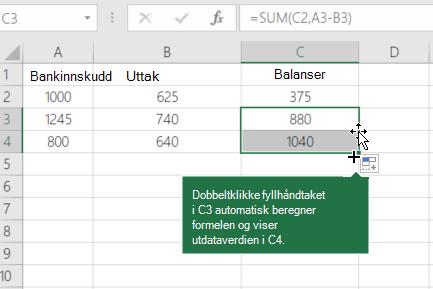 Eksempel på beregning av en løpende saldo