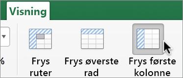 Visning-fanen, Frys første kolonne-knappen