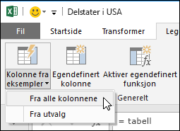 Power Query kombinerer kolonner med alternativet for eksempel i kategorien Legg til kolonne