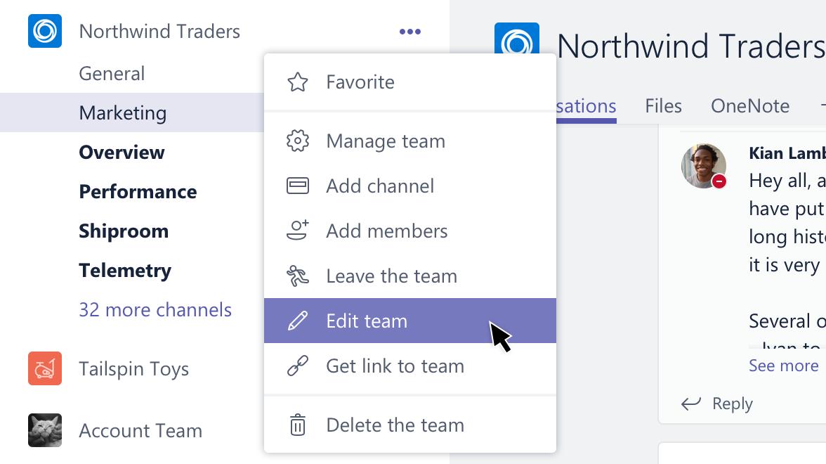 Redigere team alternativet for å få tilgang til gruppen innstillinger