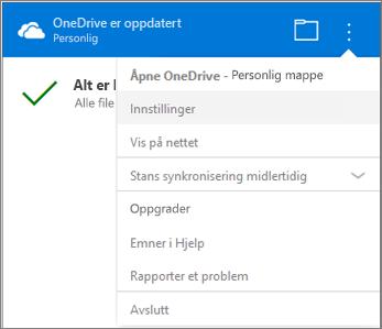 OneDrive-senter for synkroniseringsaktivitet – flere innstillinger